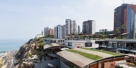 culinary tourism: Miraflores, Lima - May 10 : Beautiful view of Larcomar, a multilevel entertainment, food and shopping mega complex, Lima. May 10 2016 Miraflores, Lima Peru.