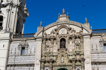 Lima - May 10 : Cathedral in the Plaza de Armas in Lima. May 10 2016 Lima Peru. Editorial