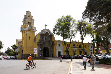 Barranco, Lima - May 10 : Barrancos main Catholic Cathedral in the town square in the Barranco District of Lima, Peru. May 10 2016 Barranco, Lima Peru. Editorial