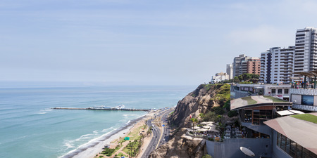 miraflores: Miraflores, Lima - May 10 : Beautiful view of Larcomar, a multilevel entertainment, food and shopping mega complex, Lima. May 10 2016 Miraflores, Lima Peru.