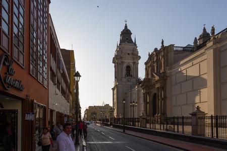 thru: Lima - May 10 : People walking thru alleyways in the city of Lima. May 10 2016 Lima Peru.