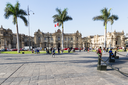 plaza de armas: Lima - May 10 : Presidential Palace on The Plaza de Armas with people and traffic. May 10 2016 Lima Peru. Editorial