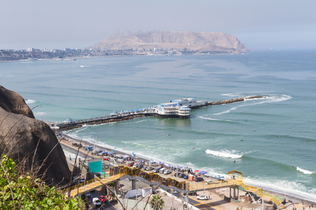 miraflores district: Miraflores, Lima - May 10 : View across the bay from Miraflores to the district of Chorillos, Lima. May 10 2016 Miraflores, Lima Peru.