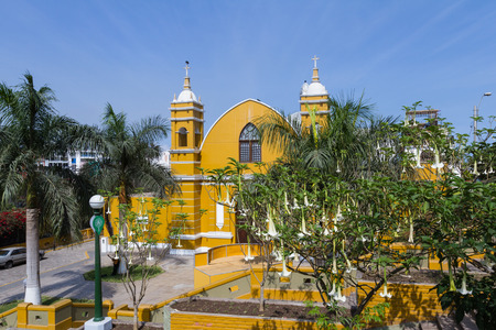Barranco, Lima - May 10 : Beautiful Church built in 1901 by a baker for his devout wife in the Barranco District of Lima, Lima. May 10 2016 Barranco, Lima Peru.