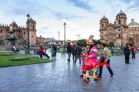 Cusco, Peru - May 13: Native people of Cusco dressed in colorful clothing in a religious celebration for Nuestra Señora de Fatima. May 13 2016, Cusco Peru.