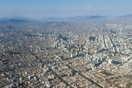 Lima Peru - May 11 : Aerial view of the City of Lima with the mountains in the background. May 11 2016, Lima Peru.
