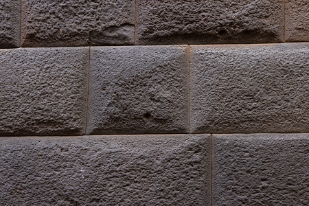 close up of an Inca style wall in Cuzco Peru