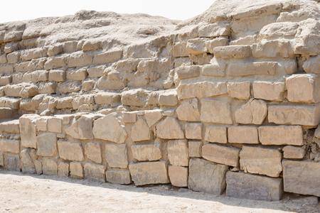 Pachacamac, Lima - May 10 : Adobe walls made with mud brick in Pachacamac. May 10 2016 Pachacamac, Lima Peru. Editorial