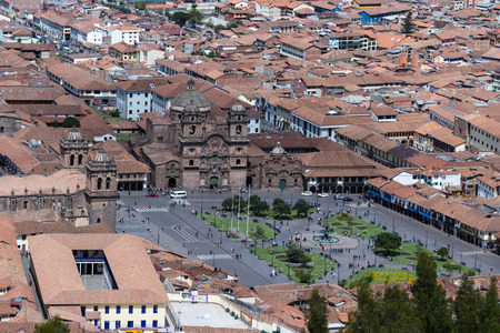Cusco, Peru - May 14 : View of the Cusco Cathedral and the plaza de armas from the ancient site of Saqsaywaman. May 14 2016, Cusco Peru.