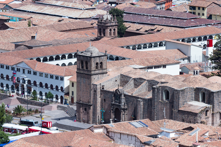 cusco: Cusco, Peru - May 14 : View of the Cusco Cathedral and the plaza de armas from the ancient site of Saqsaywaman. May 14 2016, Cusco Peru.