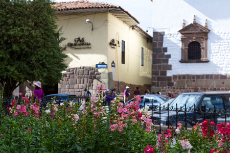adorning: Cusco, Peru - May 14 : Beautiful flowers in a small outdoor garden adorning the street in front of the Templo de Santo Domingo in Cusco. May 14 2016, Cusco Peru.