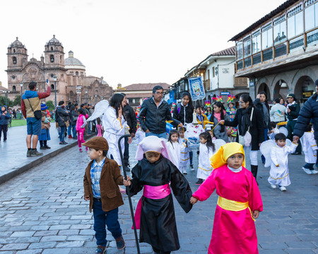 religious clothing: Cusco, Peru - May 13: Native people of Cusco dressed in colorful clothing in a religious celebration for Nuestra Se�ora de Fatima. May 13 2016, Cusco Peru.