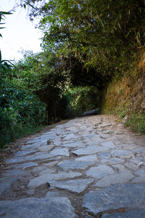 stone of destiny: Stone path with steep inclines making its way to the top of Machu Pichu Stock Photo