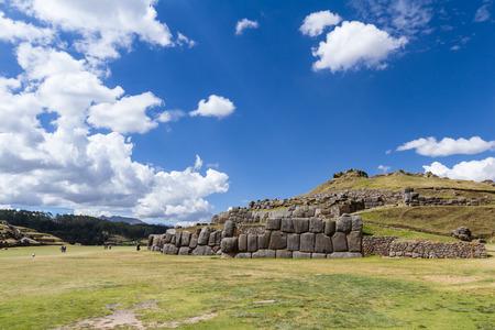 Inca site in Peru Saqsaywaman with classic Inca stone work that amazes us today Stock Photo