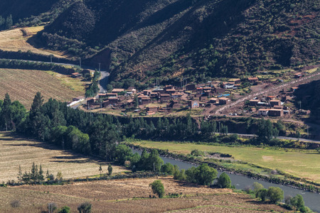 sacred valley of the incas: Small town near the city of Pisa in the Sacred valley of the incas next to the Urubamba river in Peru