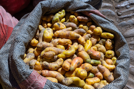 sourced: close up of a bag of Peruvian potatoes for sale at the Pisac market Stock Photo