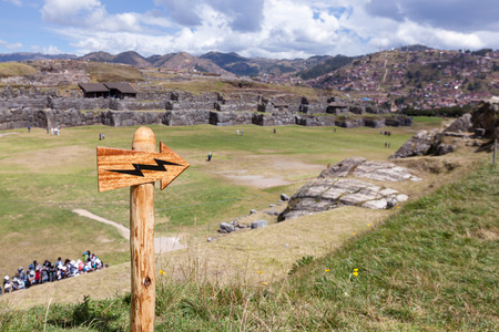 Inca site in Peru Saqsaywaman with classic Inca stone work that amazes us today Stock Photo