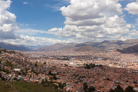cusco: Cusco, Peru - May 14 : View of the city of Cusco from the ancient site of Saqsaywaman. May 14 2016, Cusco Peru.