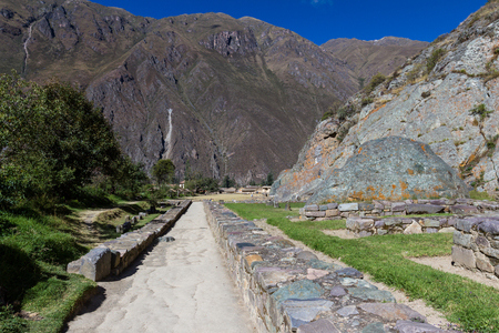 constructed: rock fortress constructed in Inca times in Ollantaytambo Peru
