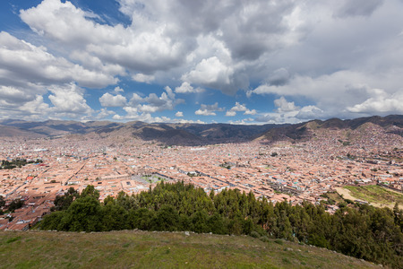 congested: Cusco, Peru - May 14 : View of the city of Cusco from the ancient site of Saqsaywaman. May 14 2016, Cusco Peru.