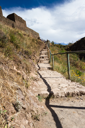 pisac: steep steps climbing to the top of the ancient ruins of Pisac in Peru
