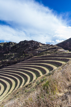 layers levels: ingenious use of space by creating terraces down a steep mountain and using them as farming terraces