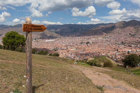 Cusco, Peru - May 14 : View of the city of Cusco from the ancient site of Saqsaywaman. May 14 2016, Cusco Peru.