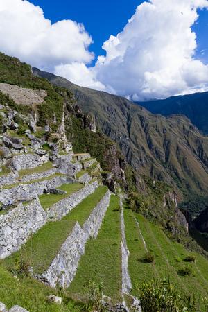 Machu Pichu, Peru - May 16 : Farming terraces around the City of Machu Pichu. May 16 2016, Machu Pichu Peru. Editorial