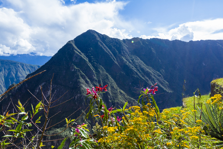 Machu Pichu, Peru - May 16 : Beautiful mountains surrounding the site of Machu Pichu. May 16 2016, Machu Pichu Peru. Editorial