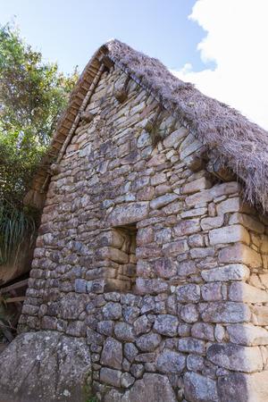 Machu Pichu, Peru - May 16 : Stone work used in the construction of Machu Pichu. May 16 2016, Machu Pichu Peru. Stock Photo