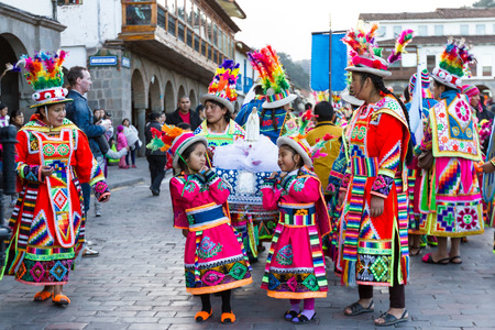 religious clothing: Cusco, Peru - May 13: Native people of Cusco dressed in colorful clothing in a religious celebration for Nuestra Señora de Fatima. May 13 2016, Cusco Peru.