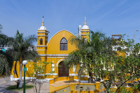 Barranco, Lima: Beautiful Church built in 1901 by a baker for his devout wife in the Barranco District of Lima, Lima. Stock Photo