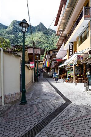 thru: Machu Pichu, Peru - May 17 : restaurants and shops thru the quaint little town of Machu Pichu. May 17 2016, Machu Pichu Peru.