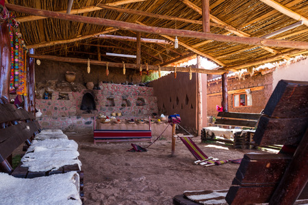 weavers: Chinchero Peru -May 18 : Lifestyle photograph of the rustic tools and work space of the weavers. May 18 2016, Chinchero Peru.