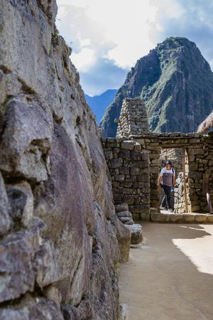 Machu Pichu, Peru - May 16 : Detail in the doorway and construction of Machu pichu using secret techniques and methods of construction. May 16 2016, Machu Pichu Peru.