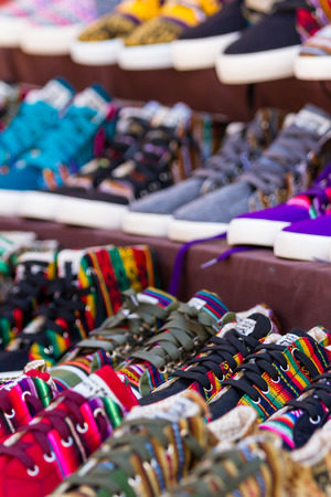 pisac: Pisac, Peru - May 15: Colorful shoes for sale at the Sacred Valley Market. May 15 2016, Pisac Peru.
