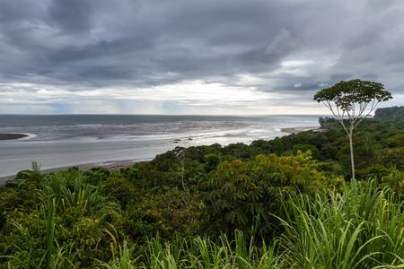 turismo ecologico: beautiful serene view form a hilltop of the Costa Rican southern pacific coast untouched by man