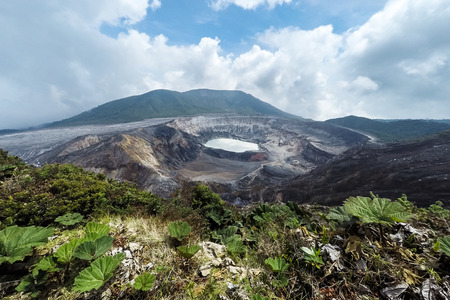 view of the Volcan Poas in Costa Rica with a clear view of the crater and surrounding area Stock Photo