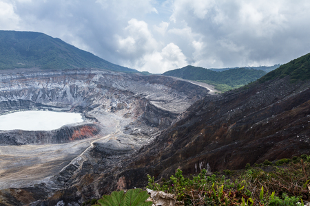 beautiful view of the Poas Volcano in Costa Rica with a clear crater and surrounding area Stock Photo