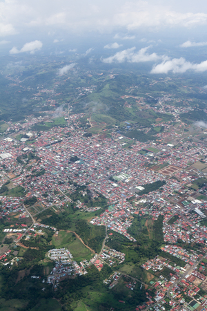 Alajuela, Costa Rica - May 24 : Aerial view of the city of San Ramon, Costa Rica. May 24 2016, Alajuela Costa Rica.