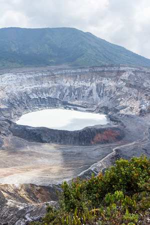 sight seeing: beautiful view of the Poas Volcano in Costa Rica with a clear crater and surrounding area Stock Photo