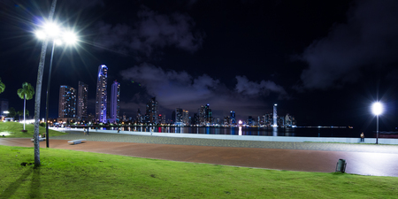 Panama City, Panama: View of the City and buildings form the Urraca park at night.