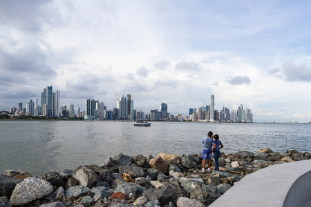 Panama City, Panama- June 08: young children enjoying a beautiful view go the City. June 08 2016, Panama City, Panama.