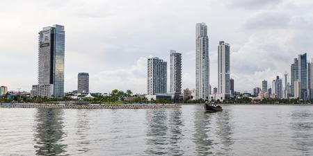 Panama City, Panama- June 08: Cityscape from across the bay in Panama. June 08 2016, Panama City, Panama. Editorial