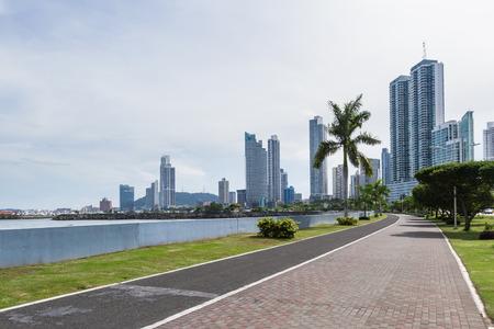 cinta: Panama City, Panama: View of the City and buildings form the Urraca park. Stock Photo