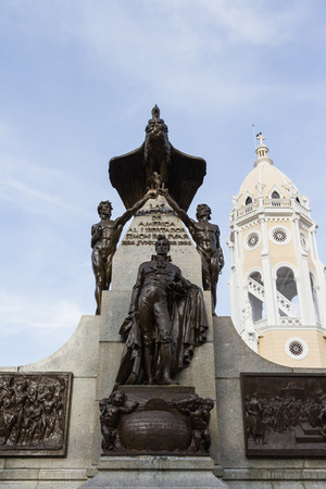 importance: Panama City, Panama: Statue of Simon Bolivar in the Casco Viejo section of the city.