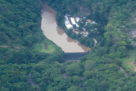 june 25: Puntarenas, Costa Rica - June 25: Aerial view of dam used for hydroelectric power. June 25 2016, Puntarenas, Costa Rica.