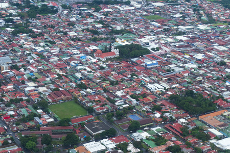 bird       s house: Alajuela , Costa Rica- June 20: Busy city life in Alajuela viewed form above. June 20 2016, Alajuela, Costa Rica. Editorial