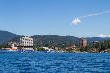 alene: Coeur d Alene, Idaho - August 12: view of The Coeur d Alene resort and Marina from the lake. August 12 2016, Coeur d Alene, Idaho.