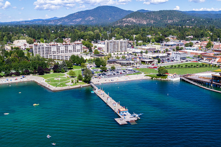alene: Coeur d Alene, Idaho - August 12: Aerial view of the beach with families enjoying the sunshine and lake. August 12 2016, Coeur d Alene, Idaho. Editorial